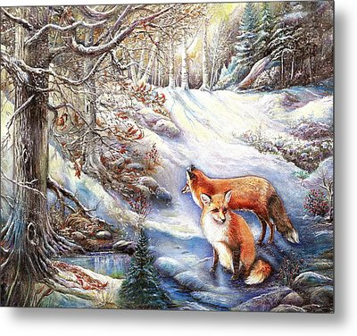 The Foxes Of Panel Mine Road Metal Print by Patricia Schneider Mitchell