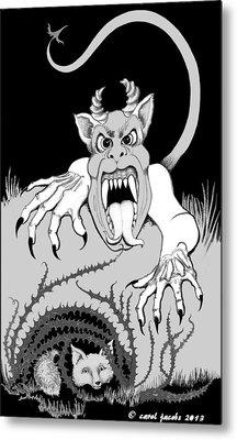 Metal Print featuring the digital art The Fox's Fiend  by Carol Jacobs