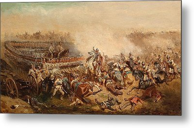 The Fray Between Prussian And Austrian Cuirassiers Infantrymen Metal Print