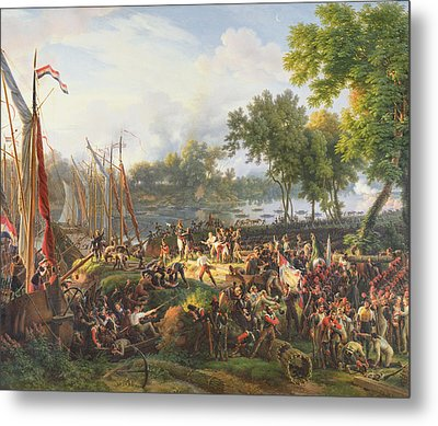 The French Army Crossing The Rhine At Dusseldorf Metal Print by Louis Lejeune