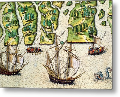 The French Discvoer Six More Rivers Metal Print by Jacques Le Moyne