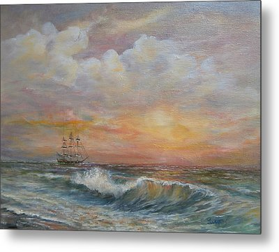 Metal Print featuring the painting Sunlit  Frigate by Luczay