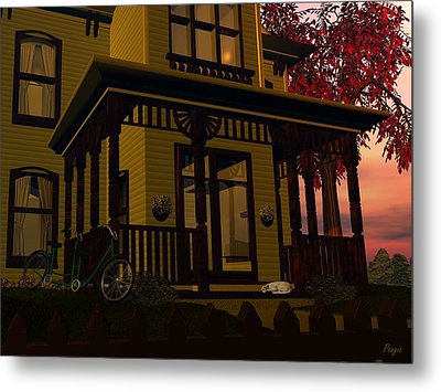 Metal Print featuring the digital art The Front Porch by John Pangia