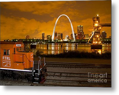 The Ftrl Railway With St Louis In The Background Metal Print by Garry McMichael