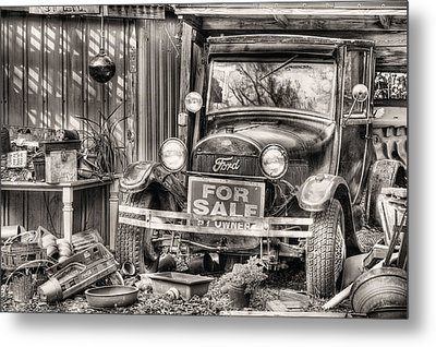 The Garage Sale Black And White Metal Print by JC Findley