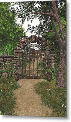 Metal Print featuring the digital art The Garden Gate by Jayne Wilson