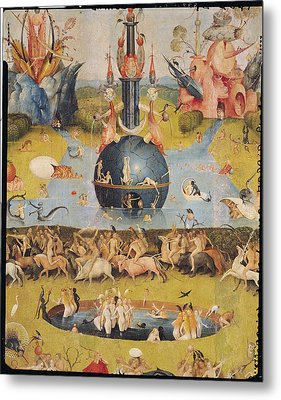 The Garden Of Earthly Delights Allegory Of Luxury, Detail Of The Central Panel, C.1500 Oil On Panel Metal Print by Hieronymus Bosch