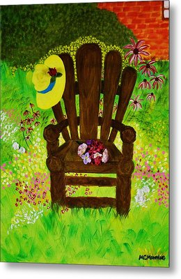 The Gardener's Chair Metal Print by Celeste Manning