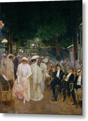 The Gardens Of Paris, Or The Beauties Of The Night, 1905 Oil On Canvas Metal Print by Jean Beraud