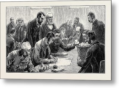 The General Election Counting The Votes At The Southwark Metal Print by English School