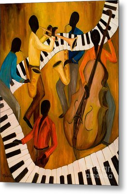 The Get-down Jazz Quintet Metal Print by Larry Martin