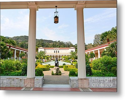 The Getty Villa Main Courtyard View From Covered Walkway. Metal Print by Jamie Pham