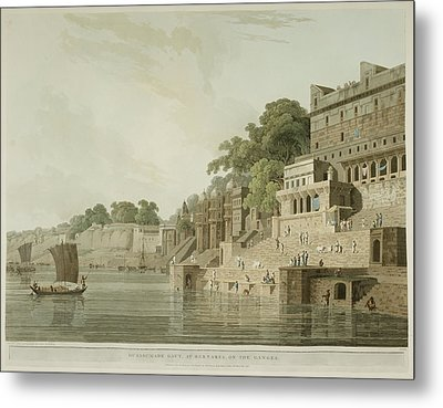 The Ghats By The River Ganges Metal Print by British Library