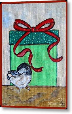 The Gift - Christmas Chickadee Whimsical Painting By Ella Metal Print by Ella Kaye Dickey
