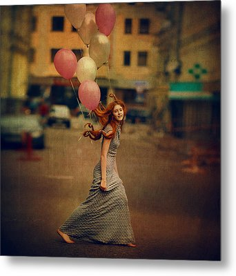 The Girl With Balloons Metal Print