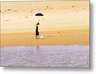 The Girl With The Black Umbrella Metal Print by Avalon Fine Art Photography