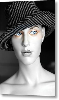 The Girl With The Fedora Hat Metal Print by Sophie Vigneault