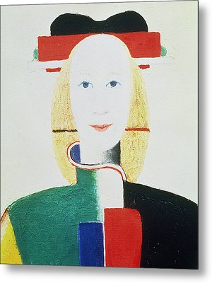 The Girl With The Hat Metal Print by Kazimir Severinovich Malevich