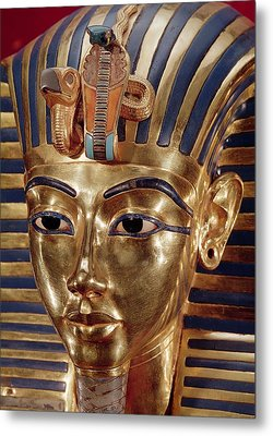 The Gold Mask, From The Treasure Of Tutankhamun C.1370-52 Bc C.1340 Bc Gold Inlaid Metal Print by Egyptian 18th Dynasty