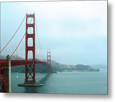 The Golden Gate Bridge And San Francisco Bay Metal Print by Connie Fox