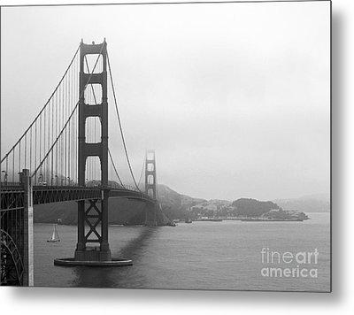 The Golden Gate Bridge In Classic B W Metal Print