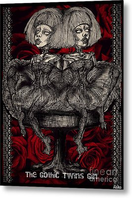 The Gothic Twin Girls Metal Print