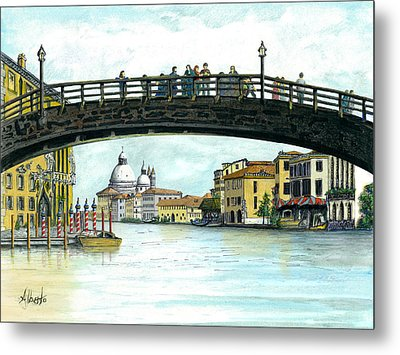 Metal Print featuring the painting The Grand Canal Venice Italy by Albert Puskaric
