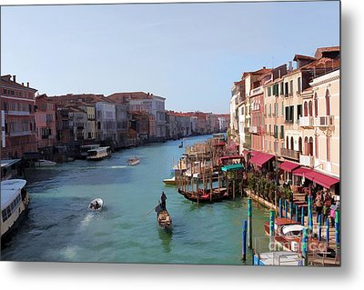 The Grand Canal Venice Oil Effect Metal Print