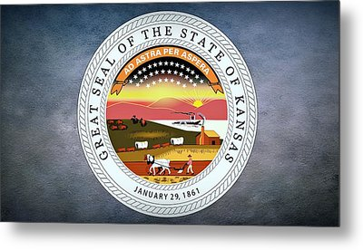 The Great Seal Of The State Of Kansas  Metal Print by Movie Poster Prints