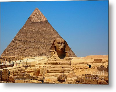Metal Print featuring the photograph The Great Sphinx Of Giza And Pyramid Of Khafre by Joe  Ng