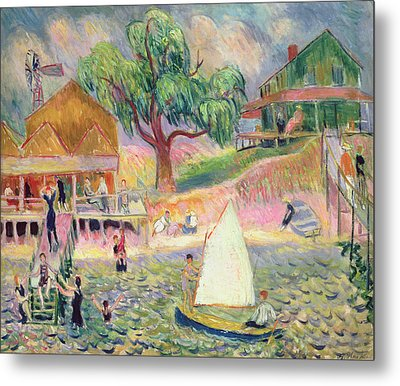 The Green Beach Cottage Metal Print by William James Glackens