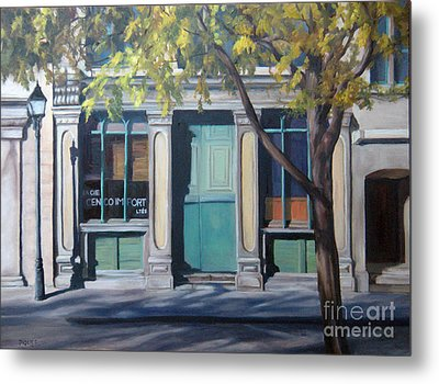 The Green Door  Old Montreal Metal Print by Rita-Anne Piquet