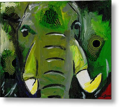 The Green Elephant In The Room Metal Print