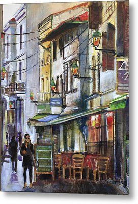 The Green Lights Of Agen Metal Print by Shirley  Peters