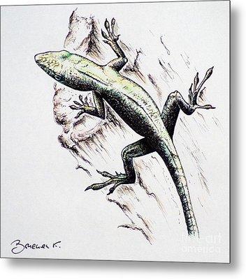 The Green Lizard Metal Print