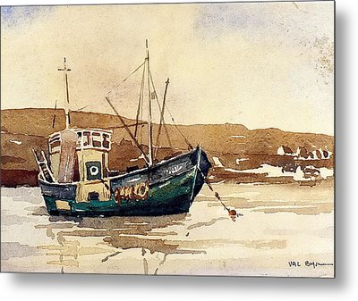 The Green Trawler Metal Print by Val Byrne