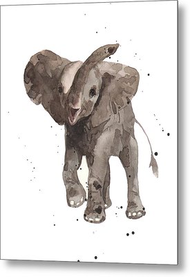 The Greeter Elephant Metal Print by Alison Fennell