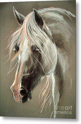 The Grey Horse Soft Pastel Metal Print by Angel  Tarantella