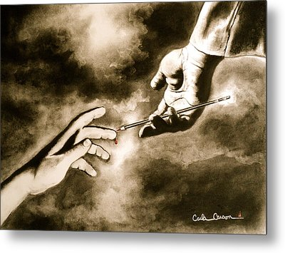 Metal Print featuring the drawing The Hand Of God by Carla Carson