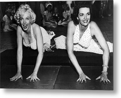 Marilyn Monroe And Jane Russell  Metal Print by Retro Images Archive