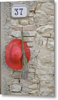 The Hanging Red Hat Metal Print by David Letts