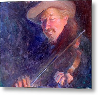 The Happy Fiddler Metal Print by Ernest Principato