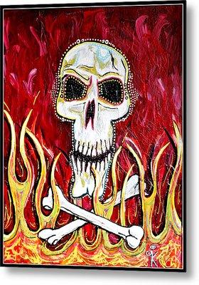 The Happy Skull Metal Print by Kip Krause