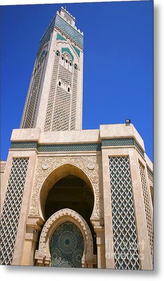 The Hassan II Mosque Grand Mosque With The Worlds Tallest 210m Minaret Sour Jdid Casablanca Morocco Metal Print by Ralph A  Ledergerber-Photography