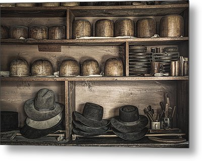 The Hatters Shelves 1- 19th Century Hatters Shop Metal Print by Gary Heller