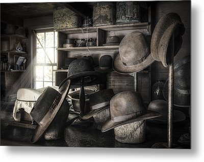 The Hatters Shop - 19th Century Hatter Metal Print by Gary Heller