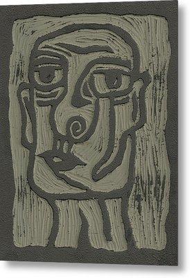 The Head Linoleum Block Carving Metal Print by Shawn Vincelette