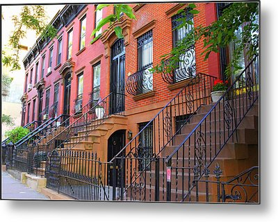 The Historic Brownstones Of Brooklyn Metal Print by Dora Sofia Caputo Photographic Art and Design