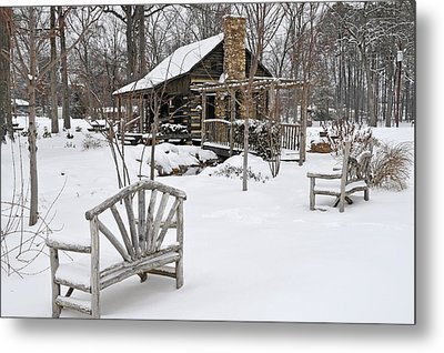 The Historic Gosnell Log Cabin After A Snowfall  Mauldin Sc Metal Print