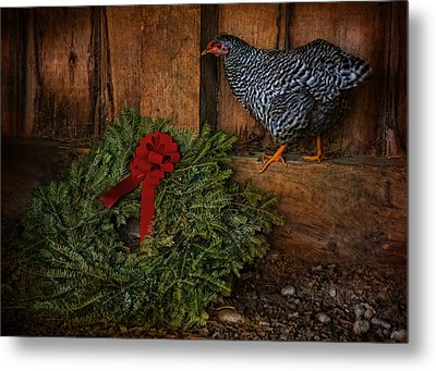 The Holiday Hen Metal Print by Robin-Lee Vieira